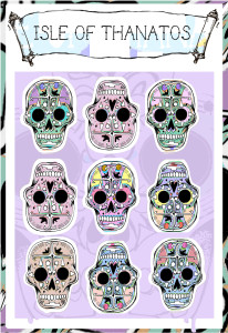 New ISLE OF THE DEAD candy skull stickers